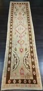 Turkish Oushak Village Runner Hand Knotted With Traditional Design