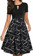 Yathon Women's Vintage Floral Flared A-line Swing Casual Party Dresses With Pock
