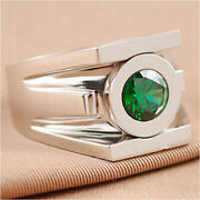 2.10 Ct Round Cut Green Lantern Power Inspired Ring In 14k White Gold Finish