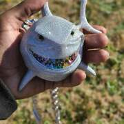 Menand039s Rainbow Color Teeth Shark Giant Piece Of Pendant With 12mm X 20 Cuban Set