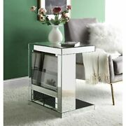 Accent Table Mirrored And Clear Glass