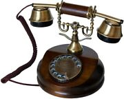 Wooden Phone Rotary Dial Classic Office Retro Telehone Collectors Birthday Gifts