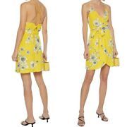 Alicia + Olivia Susana Crepe Yellow Floral Print Mini Dress Size 4 Msrp 375