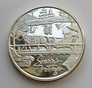 Seasons Greetings 1 Troy Ounce .999 Pure Silver Art Round