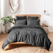 Simpleandopulence 100 Linen Duvet Cover Set With Washed-belgian Flax-3 Pieces Sol
