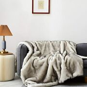 Eikei Luxury Faux Fur Throw Blanket Super Soft Oversized Thick Warm Afghan Rever