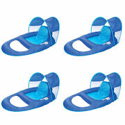 Swimways Spring Float Recliner With Canopy Water Summertime Lounge Seat 4 Pack