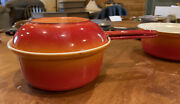 Vintage Cast Iron Flame Descoware Cookware Pot And Pan Made In Belgium