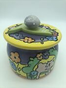 Debby Carman Ceramic Painted Kitty Cat Kitten Treat Cookie Biscuit Jar Container