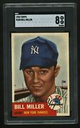 1953 Topps Bill Miller 100 Sp Short Print Sgc 8 Nm Mt Perfectly Centered