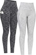 Phisockat 2 Pack High Waist Yoga Pants With Pockets Tummy Control Leggings Wor