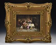 Early Artist Signed Painting On Porcelain Man Children Playing Drum