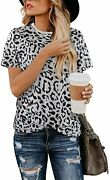 Blooming Jelly Womens Leopard Print Tops Short Sleeve Round Neck Casual T Shirts