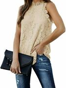 Berryou Women Lace Crochet Hollow Out Tank Tops Casual Blouse Summer Sleeveless