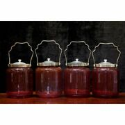 Lot Of 4 Antique Vintage Large Clear Red Glass Jars Bowl W/ Metal Lids Tall 7