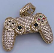 14k Yellow Gold Plated Menand039s 2 Ct Round Diamond Game Controller Pendant Silver