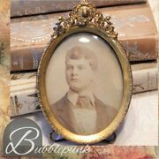 Antique Easel Back Convex Bubble Glass Ormolu Picture Frame Handsome Young Man