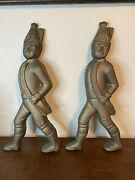 """Cast Iron American Revolution Hessian Soldiers Andirons No Stands Figures 18"""""""
