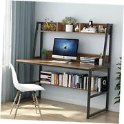 Computer Desk With Hutch 47 Inches Home Office Desk With Space Dark Walnut