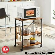 Rolling Kitchen Cart Bakers Rack Bookshelf Microwave Oven Stand Storage Decor