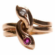 Beautiful Antique Gold Ring With Diamond And Ruby Russian Empire