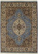 6x8 Blue And Cream Indo-kirman Hand-knotted Oriental Rug Home Decor Carpet 5'7x7'8