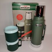Vintage Aladdin Stanley Steel Quart Thermos Flask A944dh And 2 12oz Mugs With Box