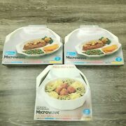 Lot 3 Vintage Anchor Ovenware Anchor Hocking Microwave Long Life Platters And Lids