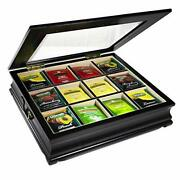Tea Chest Large Storage Tea Bag Box Wooden With Beveled