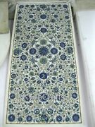 24x48 Inch Marble Corner Table Top With Semi Precious Stone Inlaid Coffee Table