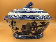 Antique J And M P Bell And Co, Glasgow Blue And White Willow Pattern Serving Tureen.