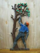 Apple Fruit Tree Picker Cast Iron Plaque Farm Stand Feed Seed Store Sign A2ps