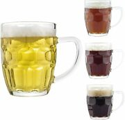 20 Ounce Dimple Stein Beer Mugs Set Drinking Mug Glass Kitchen Dining Bar 4 Pack