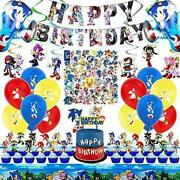 Sonic The Hedgehog Party Supplies 101pcs Birthday Party Decorations Include