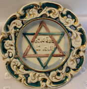 Rare Vintage Star Of David House Blessing Plate By Capooimonye Made In Italy