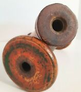 """Antique 12"""" And 9 Wooden Beehive Bobbin Industrial Textile Thread Spools 1900s"""