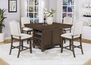 New Brown Dining Counter-height Pub Table And Wine Bottle Rack And Upholstered Chair