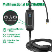 Portable Ev Charger, 6a-16a, 110-240v, Nema 6-20 With Adapter 25ft Cable Evse