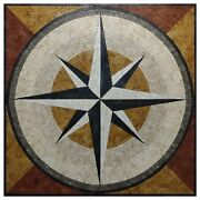 Compass Marble Mosaic Tile Handmade Nautical Natural Stone Art For Wall And Floor