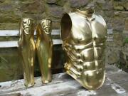 16ga Brass Coated Medieval Greek Cuirass Muscle Breastplate With Leg Guard