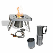 Ncamp Stainless Steel Camping Stove And Gas Adapter Hose W/ Espresso Coffee Maker