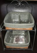 Longaberger Rare Little Bin Wrought Iron And Baskets Complete Mint Free Shipping