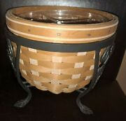 Longaberger Rare At Home Garden Flora Basket Set With Stand Mint Free Shipping