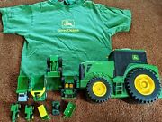 John Deere Lot Of Small Farm Construction Toys Vehicle Holder And T Shirt Top