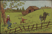 Victorian Trade Card Pondand039s Bitters 1880s Boy With Donkey Farm Chicago Vtc-a70