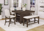 New Brown Dining Counter-height Pub Table And Wine Rack W/ Upholstered Chair Bench