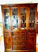 Gorgeous Mahogany Display Cabinet In Pristine Condition 6 Drawers 3 Shelvesandnbsp