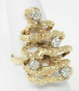 14 Kt Gold 1970and039s Diamond Christmas Tree Motif Statement Ring Size 6 3/4 B0978