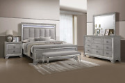 New Modern Silver Led Light Queen King 4pc Bedroom Set Gray Furniture Bed/d/m/n
