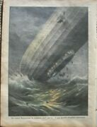 Akron Us Naval Airship Crashes 1933 Italian Magazine Cover By Achille Beltrame